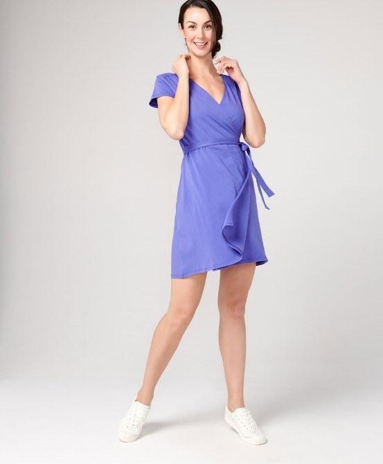 Short sleeve-wrap dress
